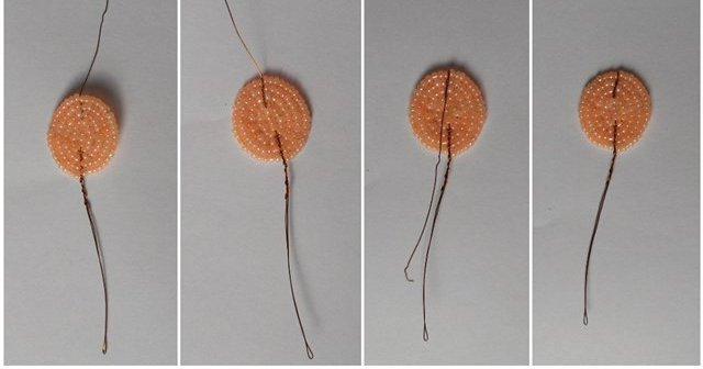 Орхидея из бисера.  Мастер-класс.  Изготовление бутона.  Необходимые материалы: оранжевый бисер, крупная желтая...