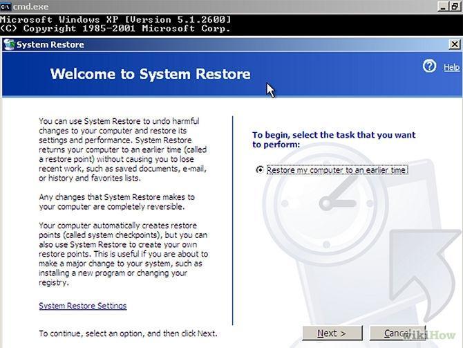 system recovery via command line