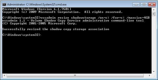 system restore via command line