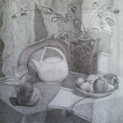 still life with fruits and vegetables