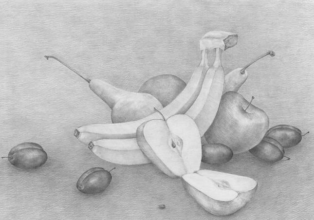 Как нарисовать натюрморт с фруктами поэтапно карандашом