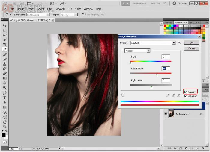 photoshop hair color