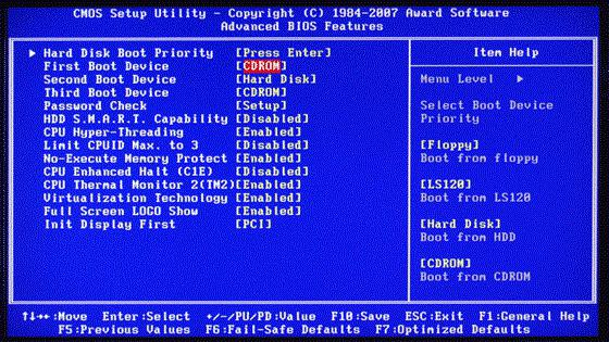 how to reinstall windows 7 bios