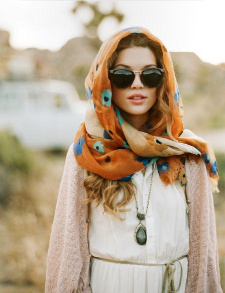 способы завязывать платок на голове