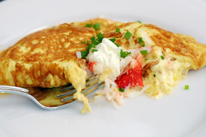 omelet on milk in a pan