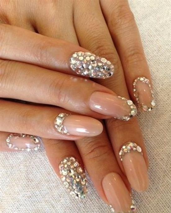 Фото ногтей с камнями френч