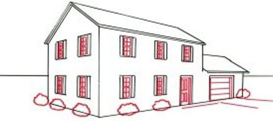 Как нарисовать дом карандашом поэтапно фото