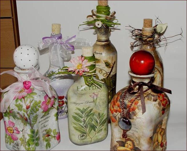 Bottles in decoupage style