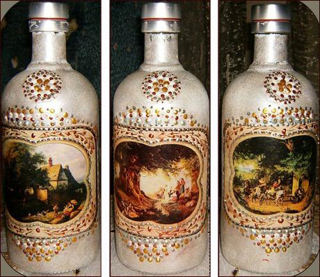 Decoupage bottles with napkins
