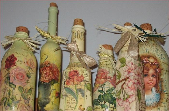 Decoupage bottles for beginners
