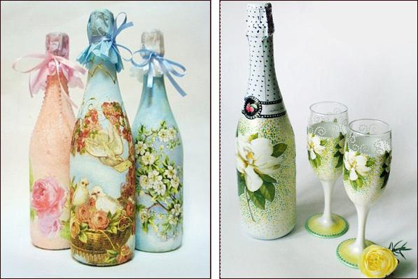 Декупаж бутылки на свадьбу