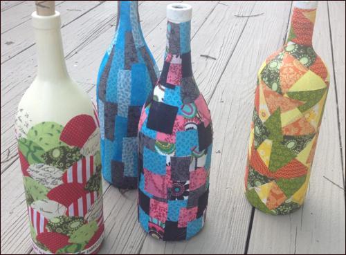 DIY decoupage bottles
