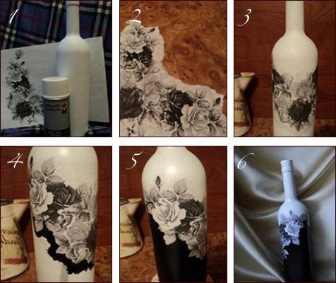 Декупаж бутылок салфетками мастер-класс
