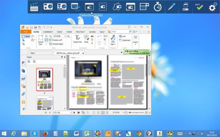 Screenshot on laptop: program