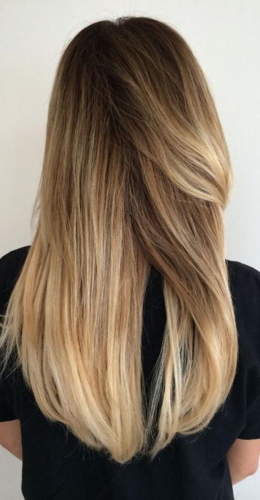 Коричневое мелирование на светлые волосы