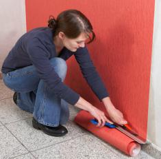 sticking wallpaper on non-woven base