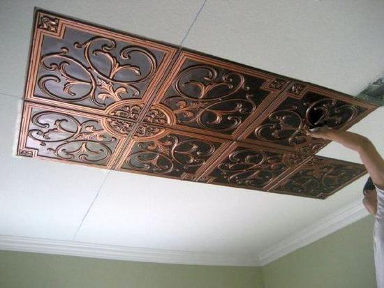 piling tiles on the ceiling