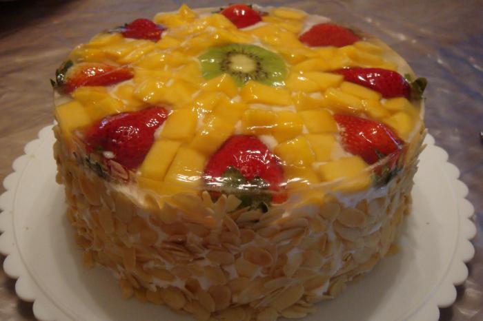 желейный торт с фруктами без выпечки со сметаной пошаговый рецепт с фото