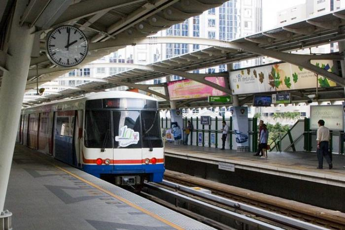 Bangkok subway with landmarks