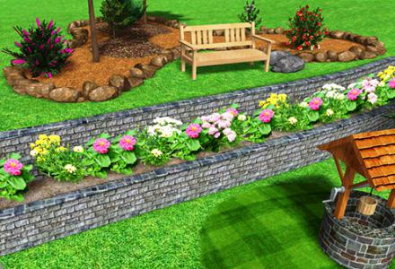 flower beds on the slope