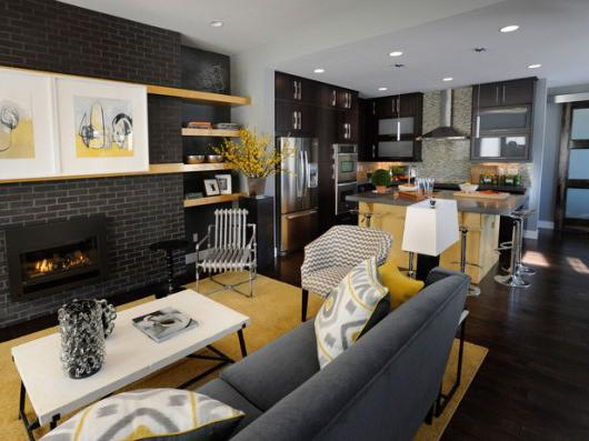 living room combined with kitchen