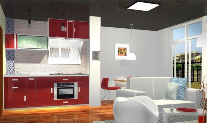 project of kitchen combined with living room