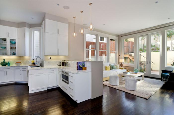 small living room combined with kitchen
