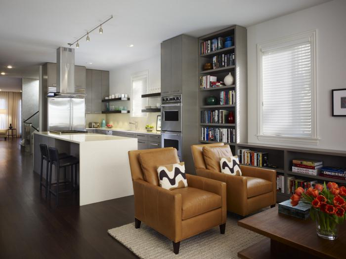 renovation living room with combined kitchen