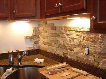 stone wall kitchen decoration photo