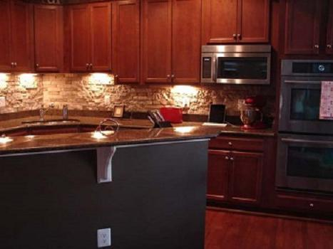 stone wall decoration in the kitchen