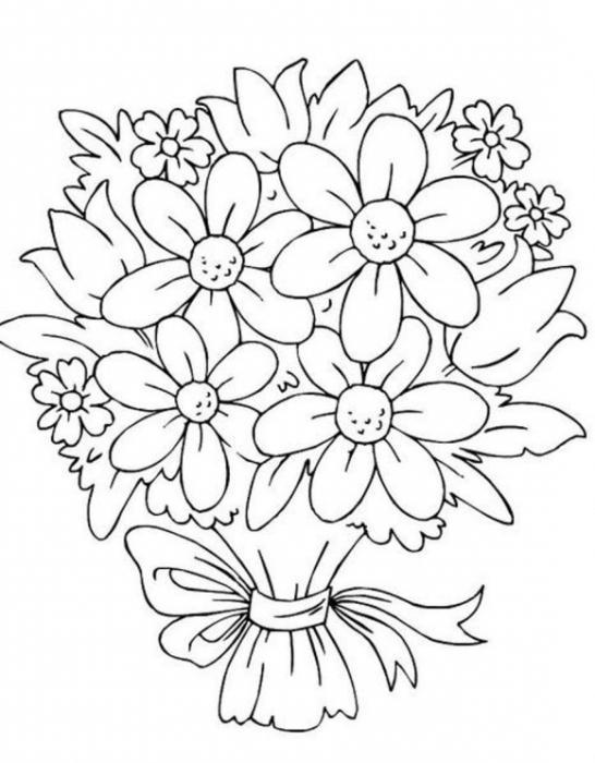 Рисунок карандашом букет цветов