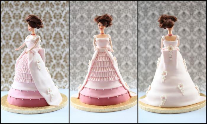 кукла барби торт из мастики