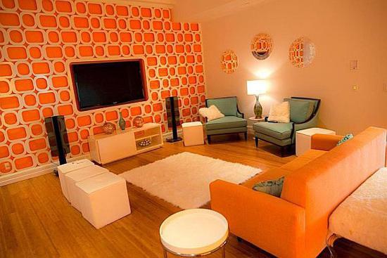 Оранжевая гостиная фото