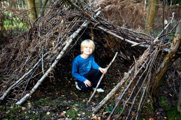 Как построить шалаш для детей на земле из веток