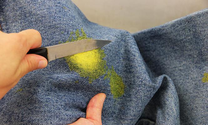 Как вывести пятно с джинс без стирки фото