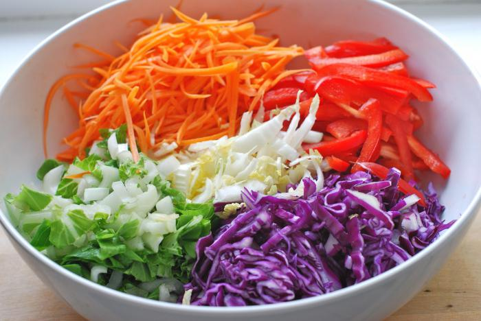 salad of fresh cabbage with carrots with vinegar