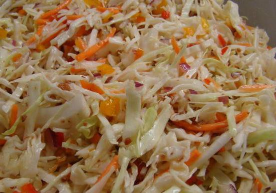 salad of fresh cabbage with vinegar and sugar