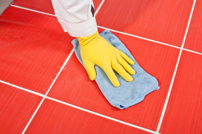 how to rub the seams on the tile on the floor
