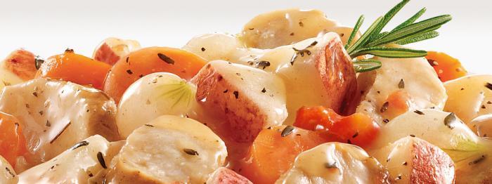 Multivarka, potatoes stewed with chicken