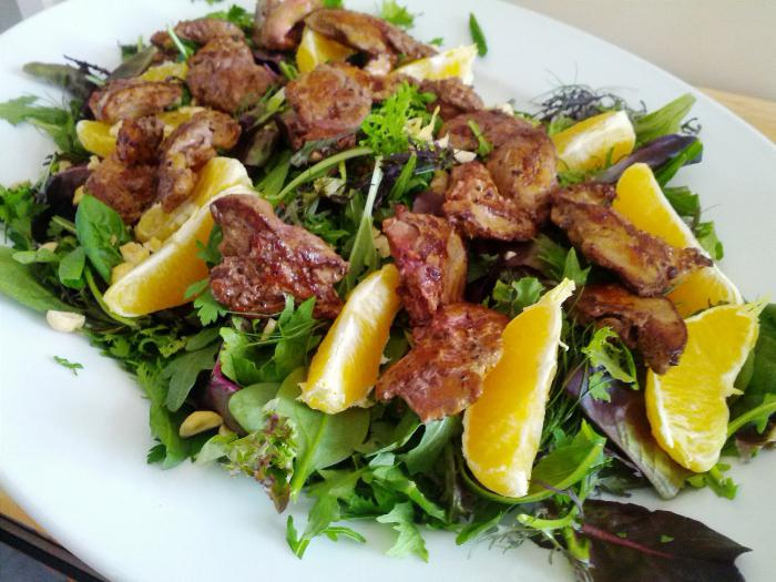 chicken liver and salads from it