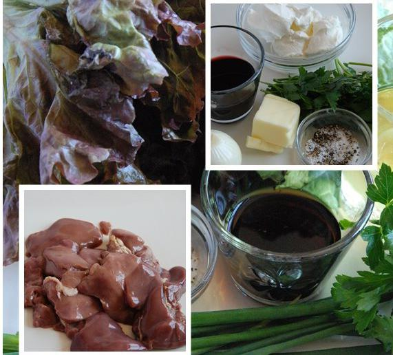 warm salad with chicken liver and pine nuts