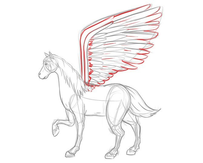how to draw a unicorn with wings