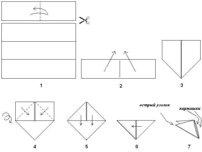 Оригами из бумаги модульная схема