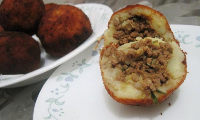 Картофельная котлета с фаршем