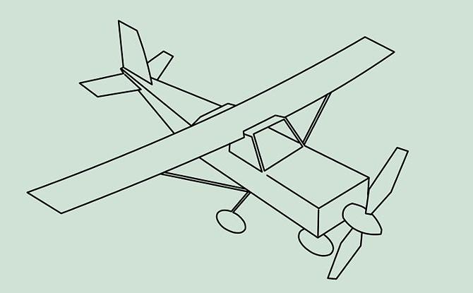 как рисовать самолет двумя