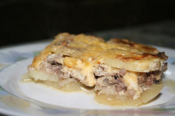 Картофельная запеканка с грибами и мясом фото