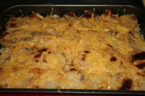 запеканка с фаршем и картофелем грибами в духовке с фото
