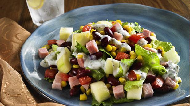 salad with corn and ham