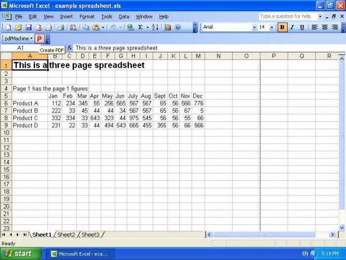 таблица данных в excel
