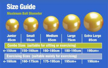 Мяч для фитнеса фитбол как выбрать размер